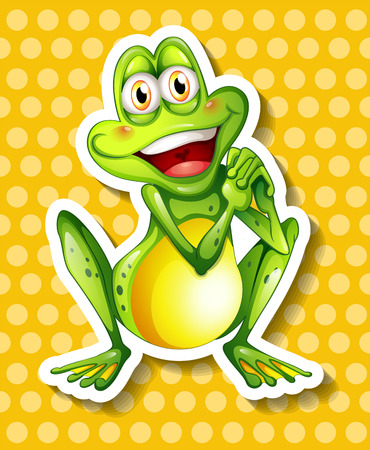 endangered: Happy green frog on yellow background