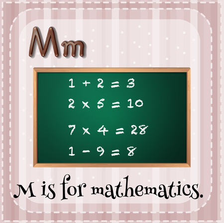 Flashcard letter M is for mathematics Illustration