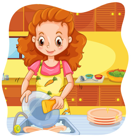 Woman doing dishes in the kitchen Ilustrace