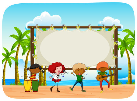 kids background: People playing musin on the beach