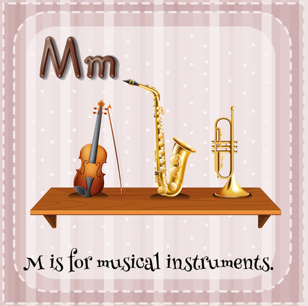 musical instrument: Flashcard letter M is for musical instrument