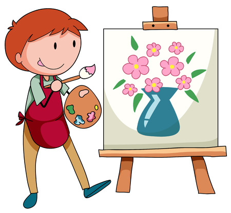a hobby: Man drawing and painting flower