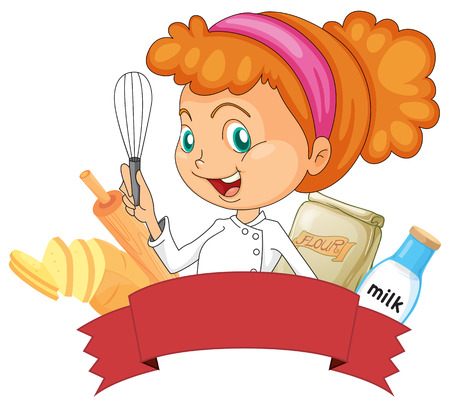 Badge of bakery with a female baker holding a whisk