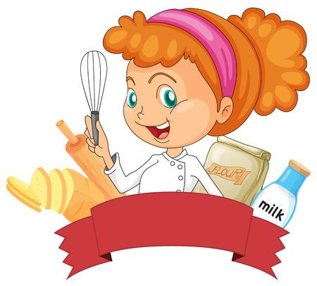 panadero: Insignia de panadería con un panadero femenina sosteniendo un batidor Vectores