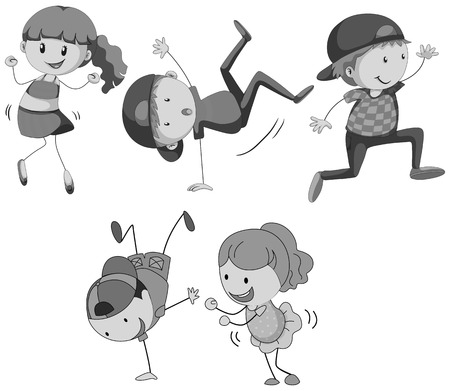 action girl: Girls and boys dancing in black and white