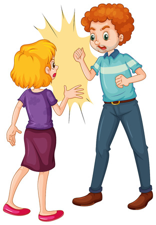 grownup: Angry man and woman fighting and arguing