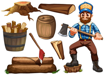 timber cutting: Lumber jack holding axe and set of fire wood Illustration