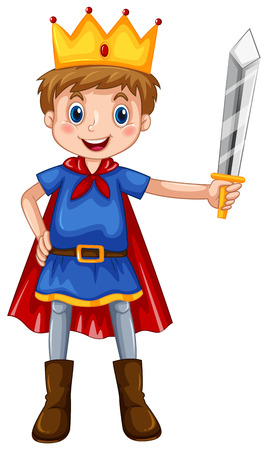Boy in prince costume holding a sword 向量圖像
