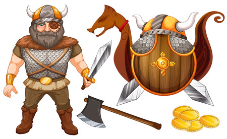 eyepatch: Male viking with eyepatch and his equipments