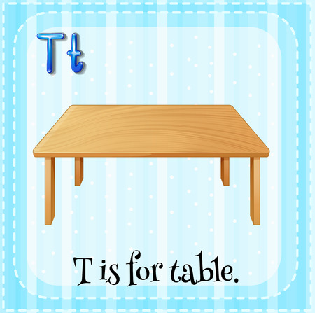 school table: Flashcard of alphabet T is for table