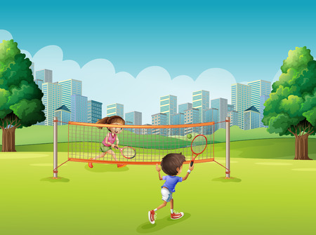 daytime: Children playing tennis in the park