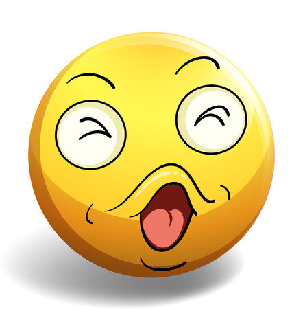 concentrate: Emoticon of singing face expression on white background Illustration