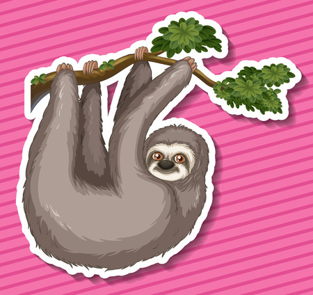 swinging: Sticker of a monkey swinging on a branch Illustration