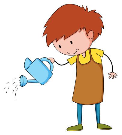 watering plant: Gardener in apron watering plant