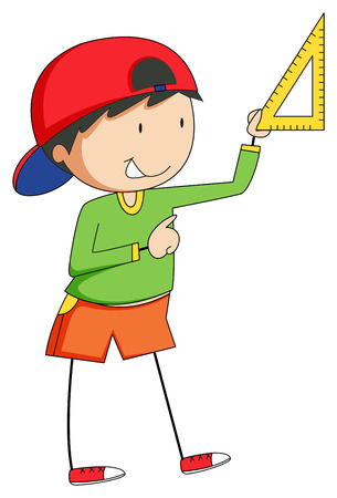measuring: Boy holding triangle to measure something