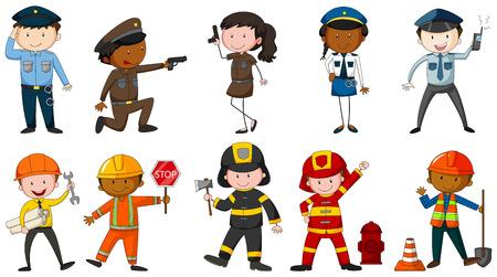 puesto de trabajo: Conjunto de hombres y mujeres con trajes diferentes puestos de trabajo en el fondo blanco