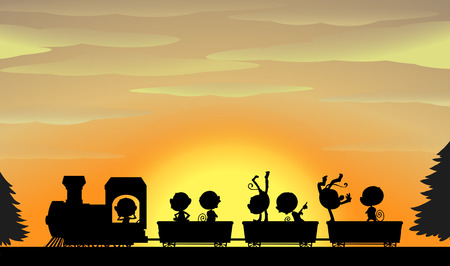 somersault: Silhouette of monkeys sitting on a train with sunset in the background