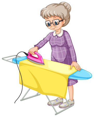 Old woman ironing clothes on ironing board