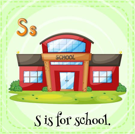 Flashcard of alphabet S is for school