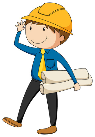 cartoon hat: Engineer with a safety hat holding files