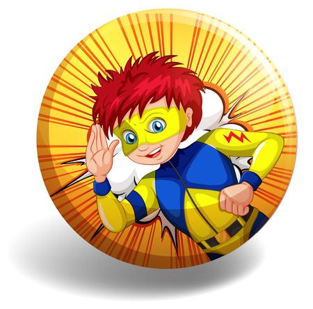role model: Superhero wearing mask on yellow badge