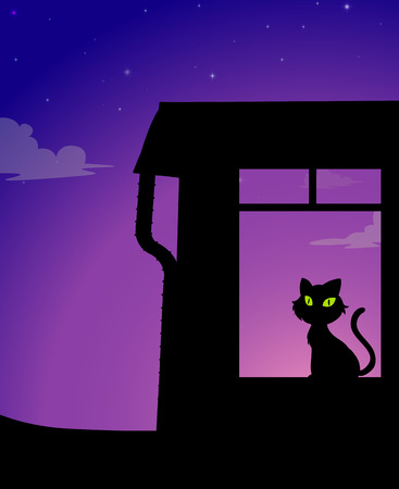 terrify: Silhouette of a yellow eyes cat sitting in a room under purple blue sky