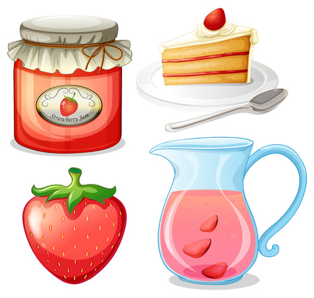 strawberry cake: Strawberry cake and jam illustration