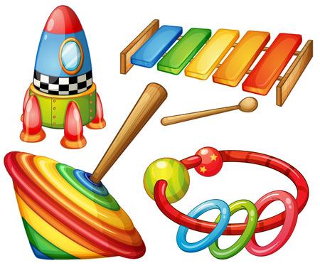 to spin: Colorful wooden toys set illustration Illustration
