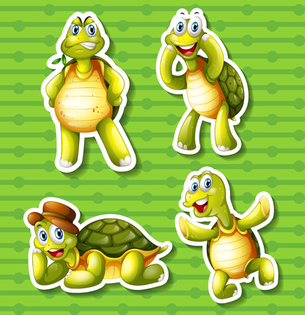 crawling creature: Turtle in four different poses illustration