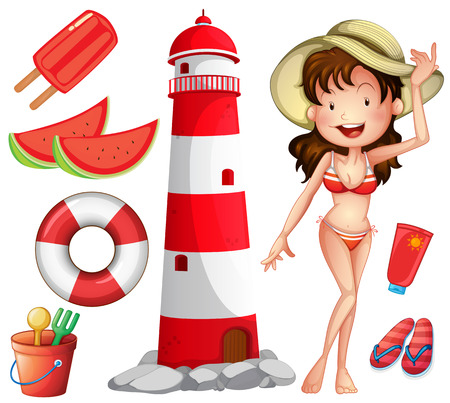 sandles: Woman in bikini and other beach things illustration