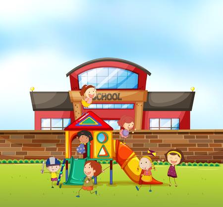 freetime: Children playing at school playground illustration