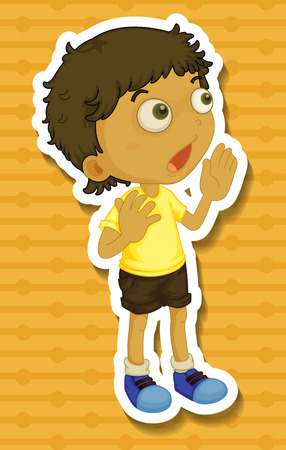 child looking up: Little boy in yellow shirt shouting illustration