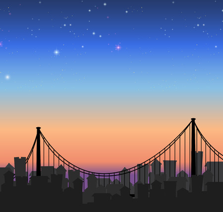 houses house: Silhouette city view with a bridge illustration Illustration