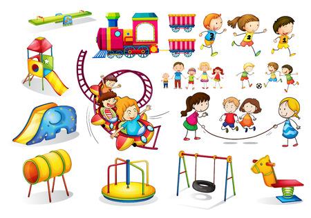 dessin enfants: Des enfants jouent et ensemble de jeux illustration