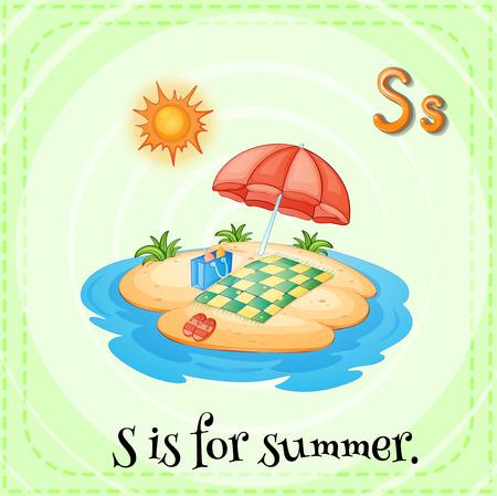 child s: Alphabet S is for summer illustration
