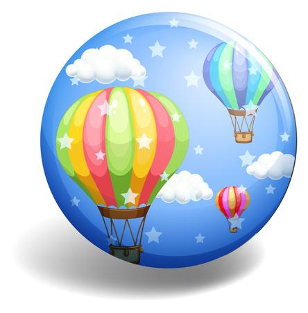 floating: Balloons on blue badge illustration Illustration