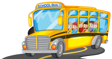 drive: Boys and girls riding in school bus illustration