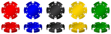 casinos: Casino chips in many colors illustration