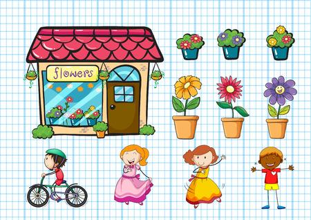 Bloemenwinkel en potplanten illustratie