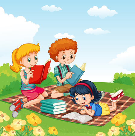 cartoon school girl: Children reading books in the park illustration Illustration