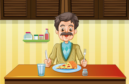Old man eating in the dining room illustration Illustration