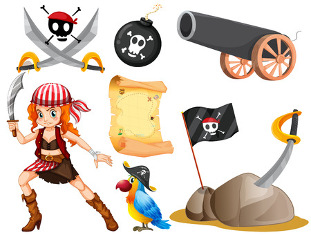 pirate girl: Female pirate and other symbols illustration