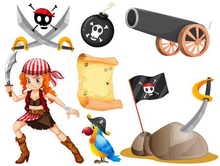 mujer pirata: Pirata y otros símbolos Ilustración femenina