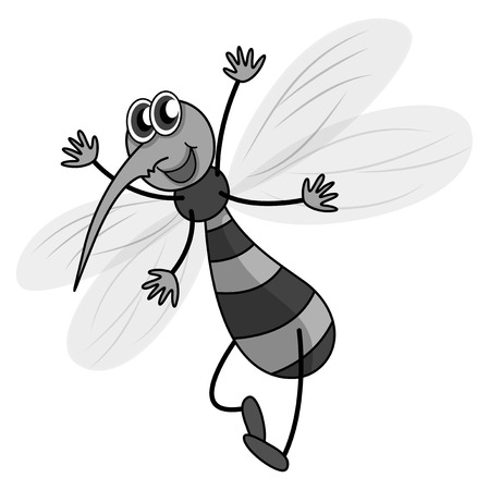 specie: Mosquito flying in black and white illustration Illustration