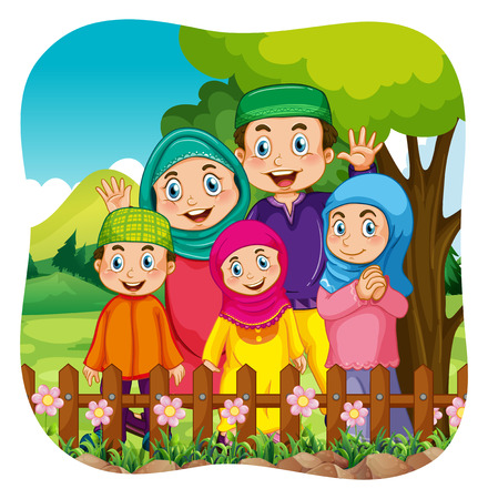 Muslim: Muslim family in the park illustration