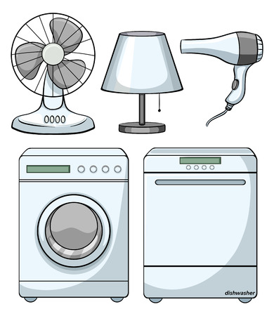 electronic devices: Household electronic devices on white illustration