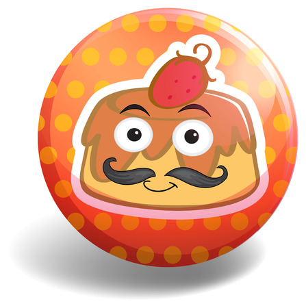 custard: Custard cake on round badge illustration Illustration