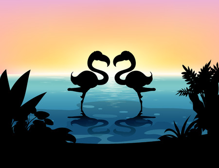 plant stand: Silhouette flamingo standing in the pond illustration
