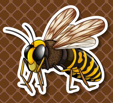 dangerous: Bee flying on brown background illustration Illustration