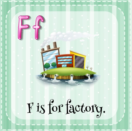 polution: Alphabet F is for factory illustration
